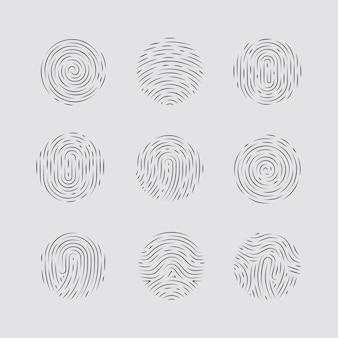Patrones abstractos de huellas dactilares redondas detalladas