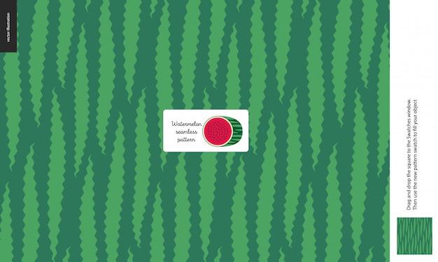 Patrones de alimentos, verano: fruta, textura de sandía, melón, verde claro y verde oscuro, la mitad de la imagen de la sandía en el centro, cáscara, piel, forma exterior - un patrón sin costura de cáscara de sandía