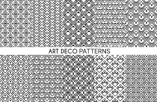 Patrones art deco. ornamento sin costuras, estilo victoriano geométrico decorativo elegante diseño monocromático vintage
