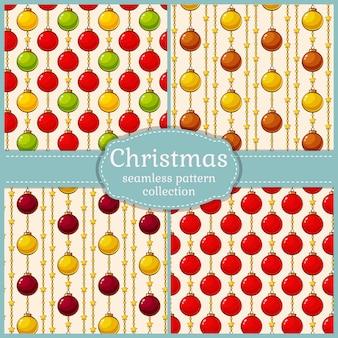 Patrones con bolas de navidad. sin costura s. conjunto.