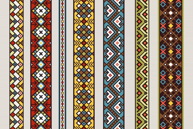 Patrones de cinta étnica. vector conjunto de patrón de cinta inconsútil mexicana o tibetana con diseño de alfombra