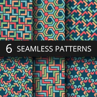 Patrones de color árabe marroquí. decoración oriental repetir fondos de vectores. colección de ilustración de decoración árabe patrón