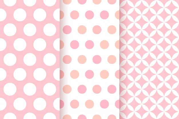 Patrones de color rosa. estampado geométrico de niña. lindos patrones infantiles con grandes lunares y rombos. diseño plano.