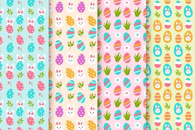 Patrones de colores planos del día de pascua