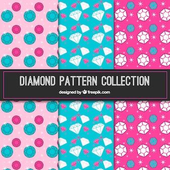 Patrones coloridos de diamantes