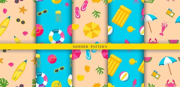 Patrones coloridos con elementos de verano.