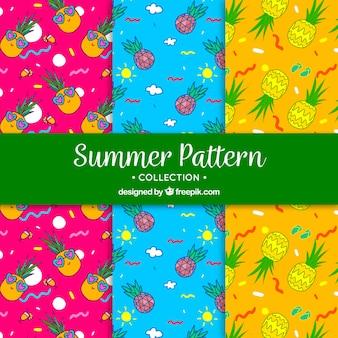 Patrones coloridos de verano con piña dibujada a mano