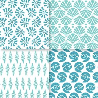 Patrones de concha sin costura de diseño plano