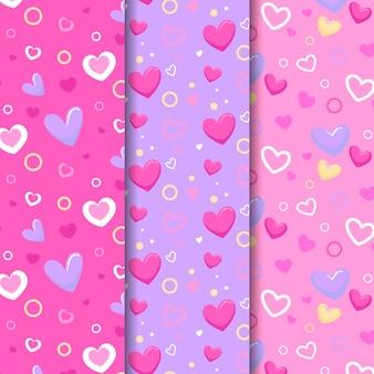Patrones de corazón lindo diseño plano