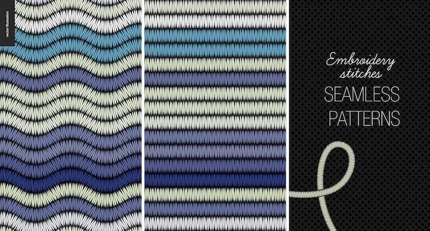 Patrones sin costura de puntada de raso bordado