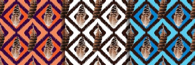 Patrones sin costuras de plumas para estampados textiles