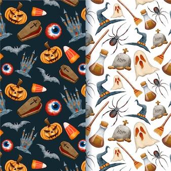 Patrones de criaturas espeluznantes de halloween de acuarela