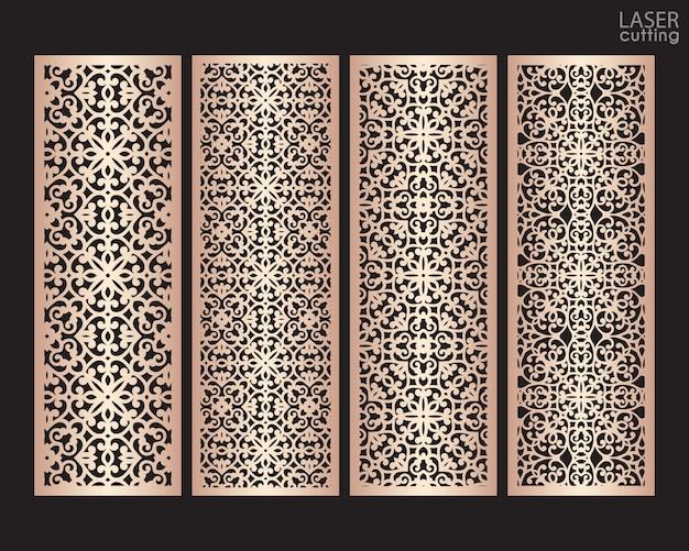 Patrones decorativos con bordes de encaje decorativos cortados con láser. conjunto de plantillas de marcadores. gabinete panel calado. pantalla de metal con corte láser. tallado en madera.