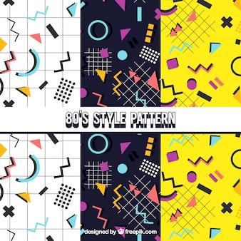 Patrones decorativos con figuras geométricas coloridas