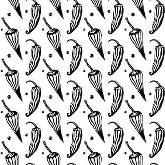 Patrones dibujados a mano sin fisuras con pimienta. comida mexicana. vector con estilo