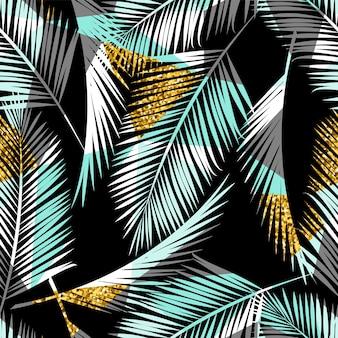 Patrones exóticos sin fisuras con hojas de palma y fondo geométrico