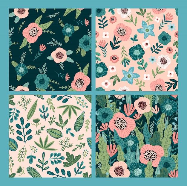 Patrones sin fisuras abstractos florales.