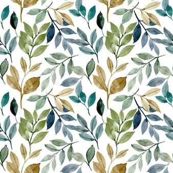 Patrones sin fisuras con acuarela de hojas verdes