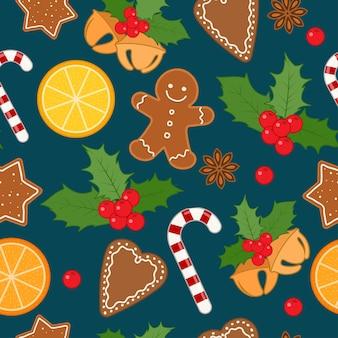 Patrones sin fisuras con adornos navideños y galletas