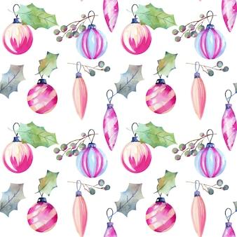 Patrones sin fisuras de adornos navideños y hojas de acebo