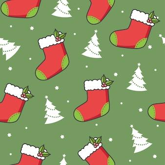 Patrones sin fisuras con árboles y calcetines de navidad