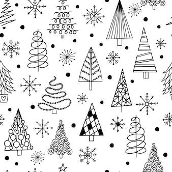 Patrones sin fisuras con árboles de navidad.