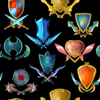 Patrones sin fisuras de armas medievales