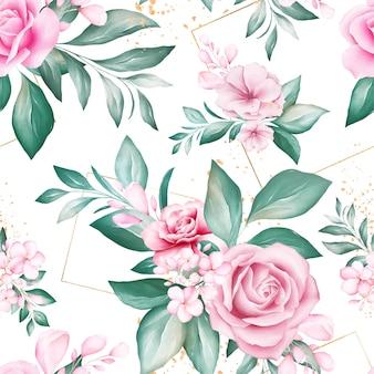 Patrones sin fisuras de arreglos de flores de acuarela con brillo geométrico