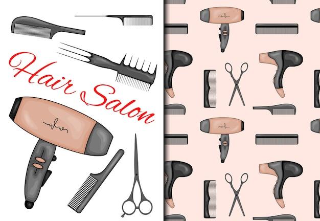 Con patrones sin fisuras y artículos para peluquería. estilo de dibujos animados.