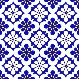Patrones sin fisuras azul y blanco