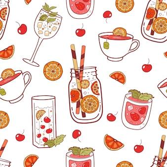 Patrones sin fisuras con bebidas de diferentes colores