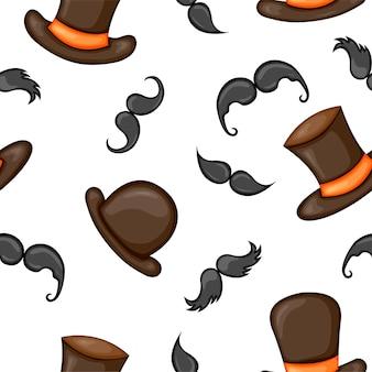Patrones sin fisuras con bigotes y sombreros. estilo de dibujos animados.