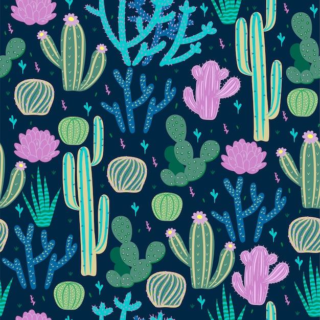 Patrones sin fisuras con cactus