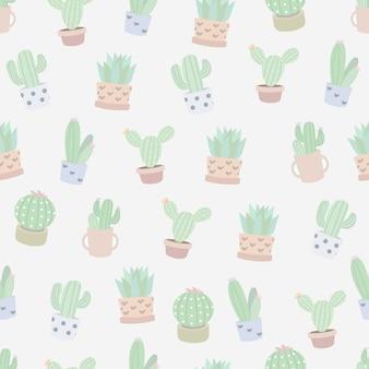 Patrones sin fisuras con cactus.