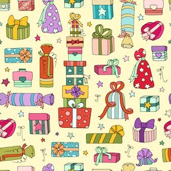 Patrones sin fisuras con cajas de regalo de dibujos animados