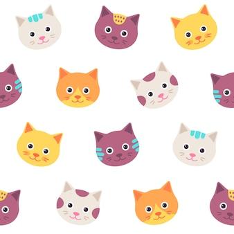 Patrones sin fisuras con caras de gato.