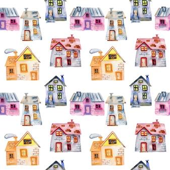Patrones sin fisuras con casas privadas de dibujos animados de acuarela
