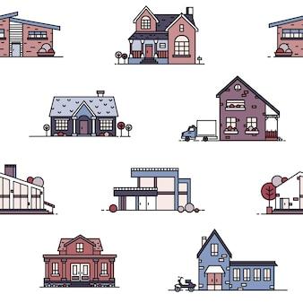 Patrones sin fisuras con casas suburbanas