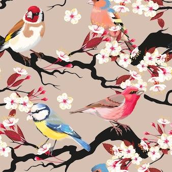 Patrones sin fisuras con cerezos en flor y pájaros
