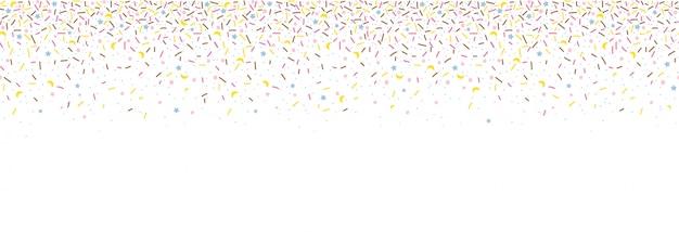 Patrones sin fisuras con chispitas de colores. donut glaseado de fondo. ilustración para diseños de vacaciones, fiesta, cumpleaños, invitación.