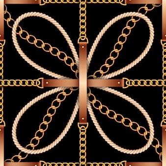 Patrones sin fisuras con cinturones, cadenas y cuerda