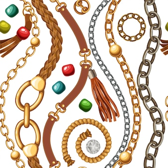 Patrones sin fisuras con cinturones, cadenas, flecos.