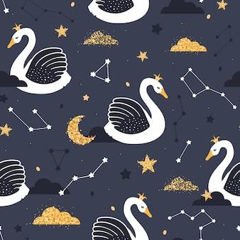 Patrones sin fisuras con cisnes en el cielo estrellado