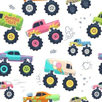 Patrones sin fisuras de coches monstruo. kid trucks con rueda grande.