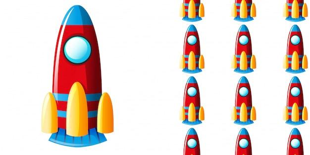 Patrones sin fisuras con cohete de juguete