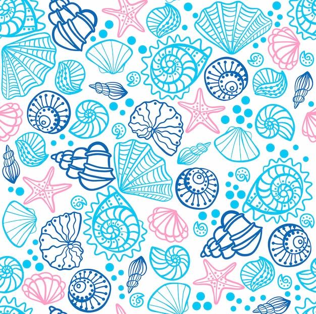 Patrones sin fisuras con conchas marinas