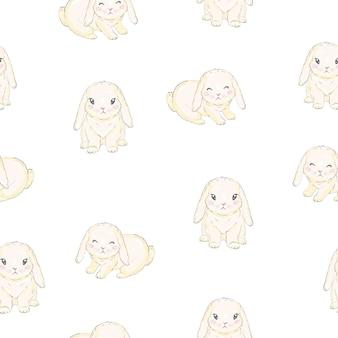 Patrones sin fisuras con conejito de dibujos animados lindo