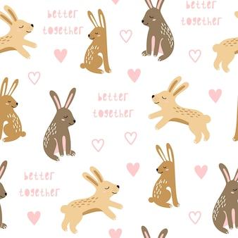 Patrones sin fisuras con conejos saltando.