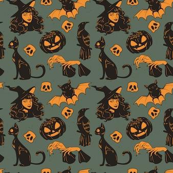Patrones sin fisuras con conjunto de elementos dibujados a mano lindo de halloween