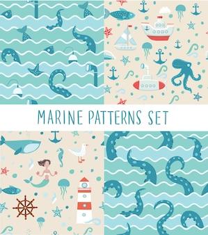 Patrones sin fisuras conjuntos de ilustraciones de viaje de pesca